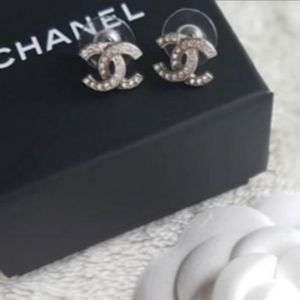 Chanel Authentic Silver Rhinestone Earrings